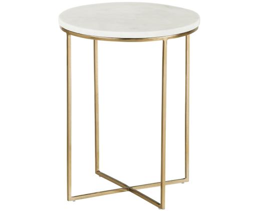 Okrągły stolik pomocniczy z marmuru Alys, Blat: marmur naturalny, Stelaż: metal malowany proszkowo, Blat: białoszary marmur Stelaż: odcienie złotego, błyszczący, Ø 40 x W 50 cm