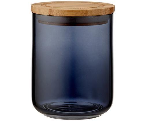 Contenitore in vetro Stak, Contenitore: vetro, Coperchio: legno di bambù, Nero, legno di bambù, Ø 10 x Alt. 13 cm