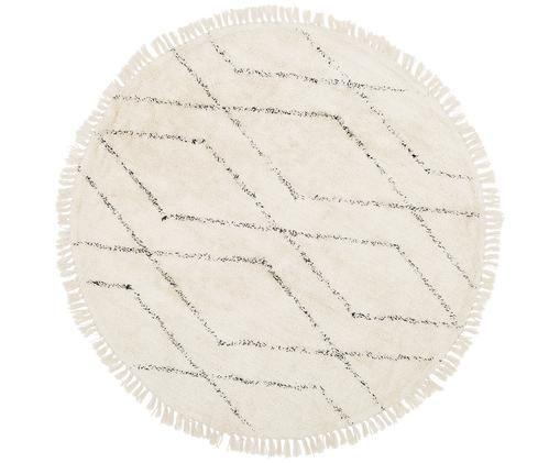 Ręcznie tuftowany dywan Bina, Beżowy, czarny, Ø 150 cm