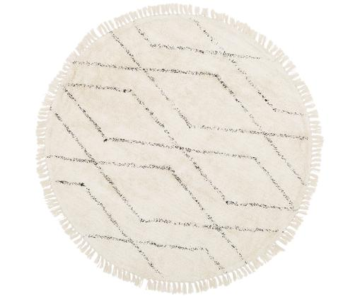 Alfombra artesanal redonda de algodón Bina, Beige, negro, Ø 150 cm