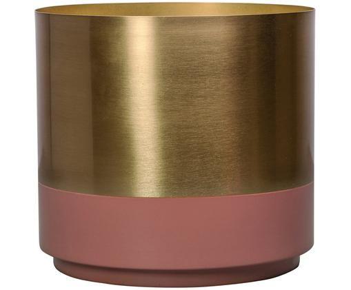 Osłonka na doniczkę Aria, Stal częściowo lakierowana, Odcienie złotego, blady różowy, Ø 18 x W 18 cm