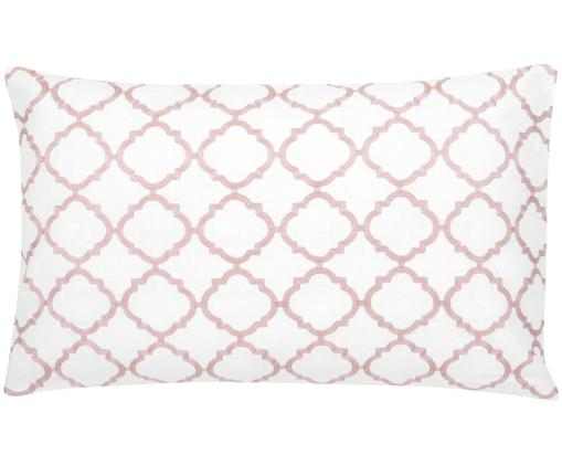 Federa arredo ricamata Lona, 100% cotone, Bianco, rosa, Larg. 30 x Lung. 50 cm