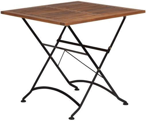 Stół składany Parklife, Blat: drewno akacjowe, olejowan, Stelaż: metal, ocynkowany, malowa, Stelaż: czarny, matowy Korpus: drewno akacjowe, S 80 x W 75 cm