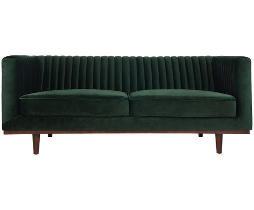 Fluwelen bank Dante (2-zits), Bekleding: polyesterfluweel, Frame: gelakt rubberhout, Groen, B 174 x D 87 cm