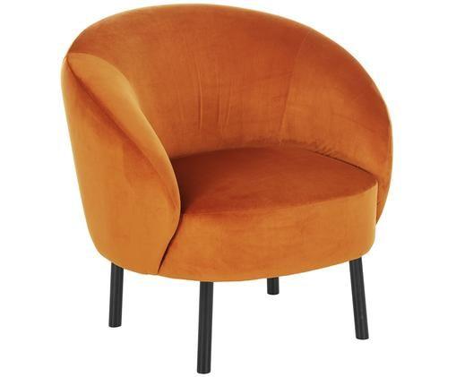 Fotel z aksamitu Freja, Tapicerka: aksamit (poliester) 30 00, Nogi: metal malowany proszkowo, Tapicerka: pomarańczowy Nogi: czarny, matowy, S 65 x G 72 cm