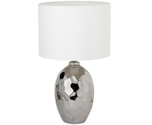 Große Tischleuchte Kimberly, Lampenschirm: 50% Baumwolle, 50% Polyes, Lampenfuß: Keramik, Silberfarben, Weiß, Ø 38 x H 65 cm
