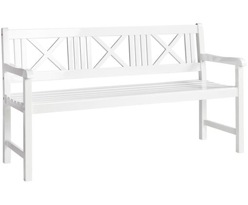 Panca da giardino in legno Rosenborg, Legno di teak, sabbiato Possiede certificato V-legal, Bianco, Larg. 150 x Alt. 89 cm