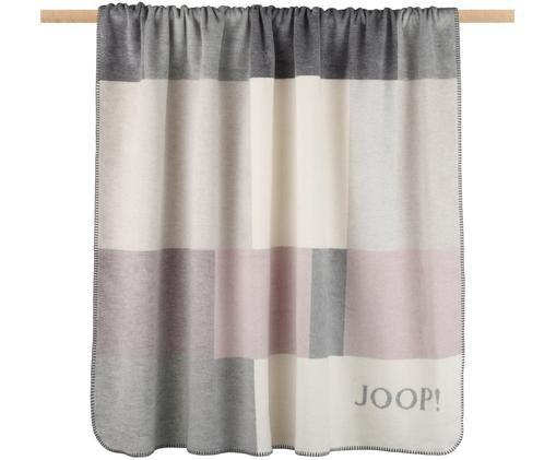 Plaid in pile Bold in grigio e rosa, 58% cotone, 35% poliacrilico, 7% poliestere, Grigio, beige, rosa, Larg. 150 x Lung. 200 cm