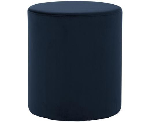 Puf z aksamitu Daisy, Tapicerka: aksamit (poliester), Tapicerka: pianka, 28 kg/m³, Granatowy, Ø 40 x W 46 cm