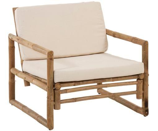 Garten-Loungesessel Bindi aus Bambus, Gestell: Bambus, naturbelassen, Bezug: Baumwolle, Bambus, Cremefarben, B 75 x T 75 cm