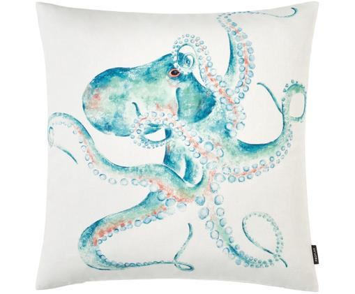 Federa arredo Octopus, Cotone, Bianco, turchese, rosso, Larg. 50 x Lung. 50 cm