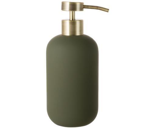 Dozownik do mydła Lotus, Zielony oliwkowy, odcienie mosiądzu, Ø 8 x W 18 cm