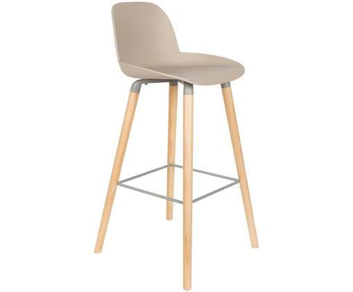 Chaise de bar Albert Kuip, Assise: gris-brun Pieds: frêne Cadre et repose-pieds: gris