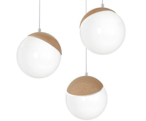 Kugel-Pendelleuchte Sfera aus Opalglas, Lampenschirm: Opalglas, Baldachin: Metall, beschichtet, Opalweiß, Braun, Ø 35 x H 90 cm
