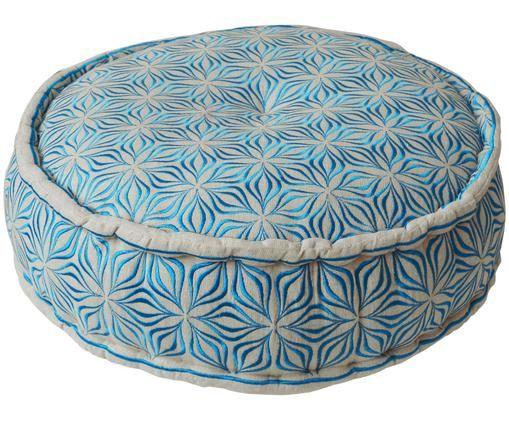 Okrągła poduszka podłogowa z lnu Martha, Błękitny, Ø 60 x W 20 cm