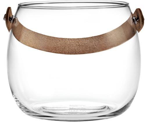 Windlicht Chamber, Windlicht: Glas, Griff: Leder, Transparent, Braun, Ø 16 x H 12 cm