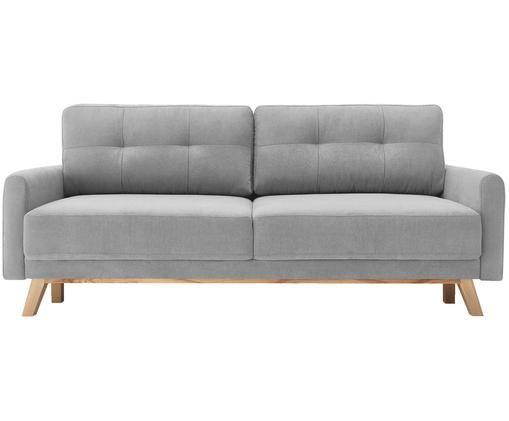 Fluwelen slaapbank Balio (3-zits), Bekleding: 100% polyesterfluweel, Poten: gelakt metaal, Frame: massief hout en spaanplaa, Lichtgrijs, B 216 x D 86 cm