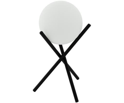 Tischleuchte Castellato aus Opalglas, Lampenfuß: Stahl, lackiert, Lampenschirm: Opalglas, Schwarz, Weiß, Ø 21 x H 33 cm