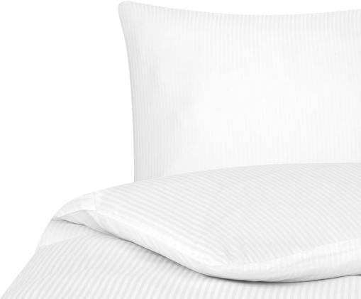 Satinstreifen-Bettwäsche Stella in Weiß, Weiß, 135 x 200 cm