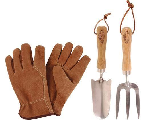 Komplet narzędzi ogrodniczych Gardenia, 4 elem., Drewno naturalne, stal szlachetna, Brązowy, stal, S 36 x W 34 cm