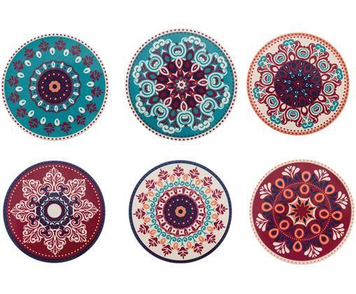 Set sottobicchieri Shiraz, 6 pz., Retro: sughero, Multicolore, sughero, Ø 10 cm