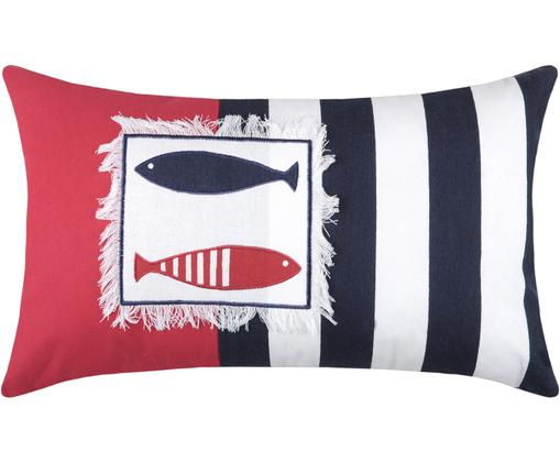 Poduszka z wypełnieniem Concarneau Sea, Bawełna, Czerwony, biały, niebieski, S 30 x D 50 cm