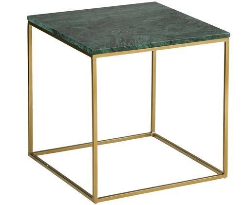 Marmeren bijzettafel Alys, Tafelblad: marmer natuursteen, Frame: gecoat metaal, Tafelblad: groen marmer. Frame: goudkleurig, glanzend, 50 x 50 cm