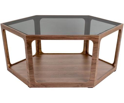 Couchtisch Sita mit Glasplatte, Tischplatte: Gehärtetes Glas, Walnuss, Anthrazit, B 93 x T 80 cm
