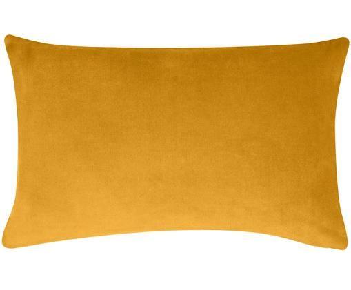 Funda de cojín de terciopelo Alyson, Terciopelo de algodón, Ocre, An 30 x L 50 cm