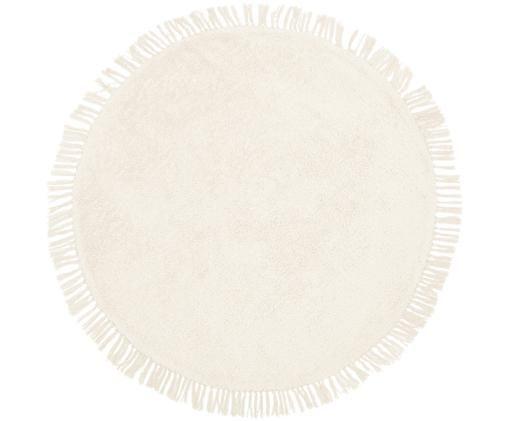 Okrągły ręcznie tkany dywan z bawełny Daya, Bawełna, Beżowy, Ø 150 cm