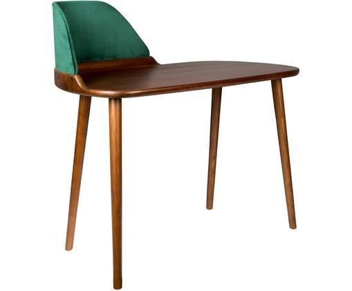 Schreibtisch Finn mit Rückenplatte aus Samt, Eschenholz