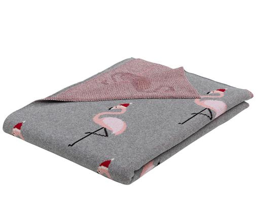 Manta doble cara tejida Flamingo, Gris, multicolor