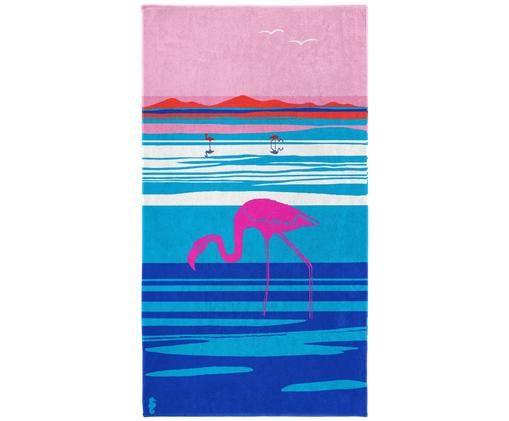 Ręcznik plażowy Panorama, Welur (bawełna) Średnia gramatura, 420g/m², Odcienie różowego, odcienie niebieskiego, biały, S 100 x D 180 cm