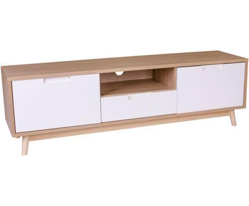 Tv-meubel Copenhagen van grenenhout, Grenenhout, MDF, met melamine bekleed, Wit, grenenhoutkleurig, B 150 x D 38 cm