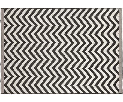 Dwustronny dywan wewnętrzny/zewnętrzny Palma, Czarny, kremowy, S 160 x D 230 cm (Rozmiar M)