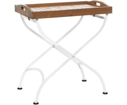 Stół-taca ogrodowy z drewnianym blatem Parklife, Blat: drewno akacjowe, olejowan, Stelaż: metal ocynkowany, malowan, Biały, drewno akacjowe, S 65 x W 72 cm