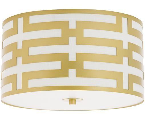 Lampa sufitowa Leonor, Odcienie złotego, biały, Ø 41 x W 22 cm