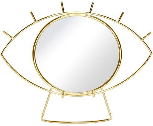 Kosmetikspiegel Lashes, Rahmen: Edelstahl, beschichtet, Spiegelfläche: Spiegelglas, Rahmen: GoldfarbenSpiegelfläche: Spiegelglas, 30 x 22 cm