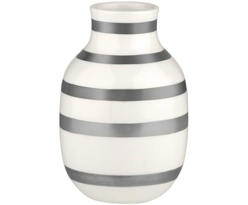 Vaso Omaggio fatto a mano, di piccole dimensioni, Ceramica, Argento, bianco, Ø 8 x Alt. 13 cm