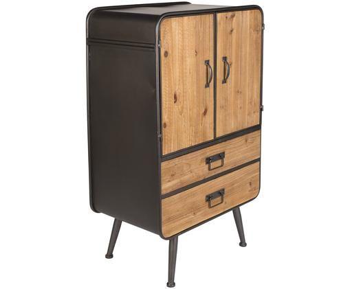 Petite commode industrielle Gin, Portes et tiroirs: bois de sapin structure, Poignées et pieds: gris
