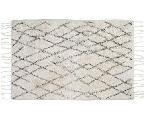 Tappeto bagno morbido e antiscivolo con nappe Beth, Vello: cotone, Retro: silicone, Crema, grigio, Larg. 60 x Lung. 90 cm