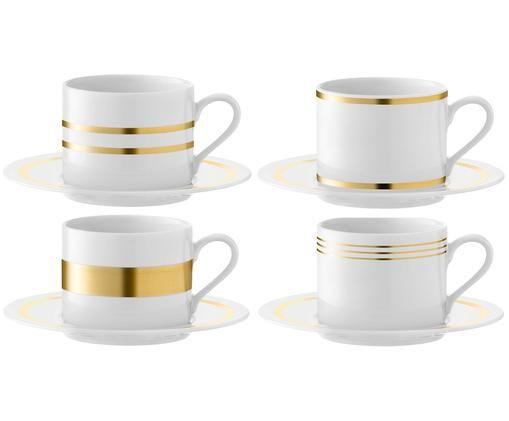 Tassen-Set Deco 8-tlg., Porzellan, Weiß, Goldfarben, Ø 16 x H 8 cm