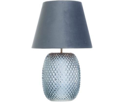 Tischleuchte Cornelia, Lampenschirm: Polyester, Lampenfuß: Glas, Blau, Ø 25 x H 44 cm