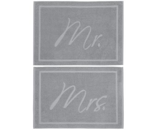 Set tappetini da bagno Mr. & Mrs. 2 pz., 100% cotone Qualità pesante, 750 g/m², Grigio scuro, Larg. 50 x Lung. 70 cm
