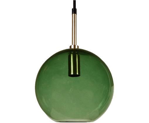 Lampada a sospensione a sfera in vetro Milla, Paralume: vetro, Baldacchino: metallo rivestito, Verde, ottone, nero, Ø 20 x Alt. 36 cm