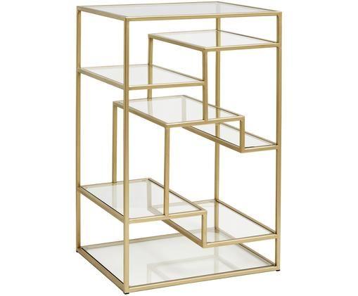 Kleines Metallregal Display mit Glasböden, Goldfarben, Transparent