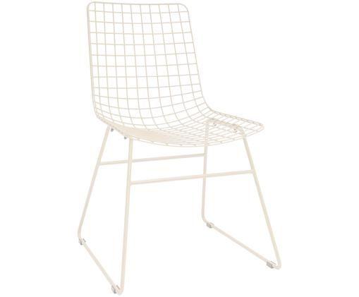 Sedia Wire, Metallo verniciato a polvere, Bianco crema, Larg. 47 x Prof. 54 cm