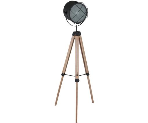 Industrial-Stehleuchte Dyce, höhenverstellbar, Metall, lackiert, Holz, Schwarz, matt, Holz, Ø 60 x H 160 cm