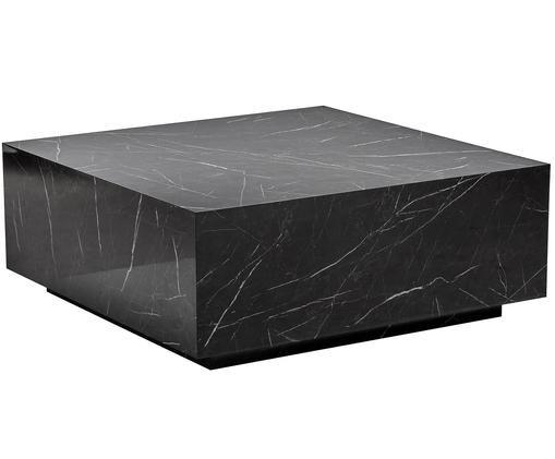 Stolik kawowy z imitacji marmuru Lesley, Płyta pilśniowa średniej gęstości (MDF) pokryta folią melaminową, Czarny, marmurowy, błyszczący, S 90 x G 90 cm