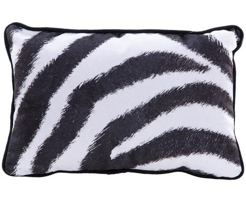 Samt-Kissen Zebra, mit Inlett, Polyestersamt, Weiß, Schwarz, 30 x 45 cm